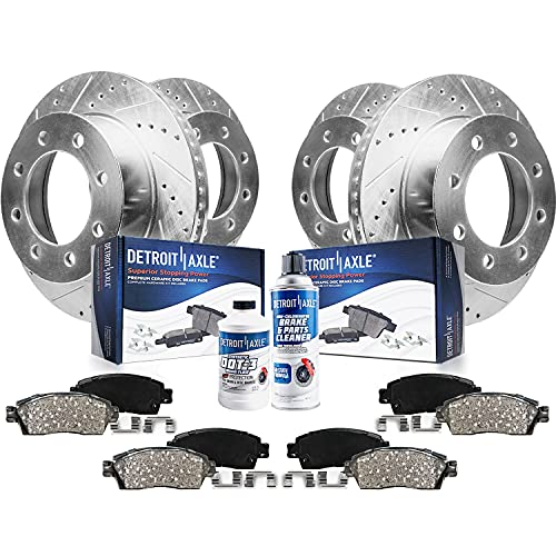 Detroit Axle - 4WD 331mm Front & Rear Drilled Slotted...
