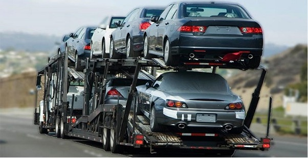 Cars on a truck for shipping